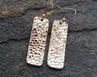 Leather Earrings, Rose Gold Earrings, Bar Earrings, Metallic Leather, Stingray Leather, Metallic Earrings, Boho Chic, Boho Earrings