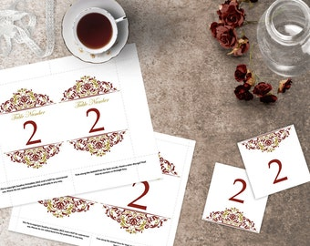 Maroon and Gold Wedding Table Numbers, 4x6 and 5x7 DIY Table Numbers, Wedding Template, Elegant Wedding, Tented Table Number, Crimson, Gold