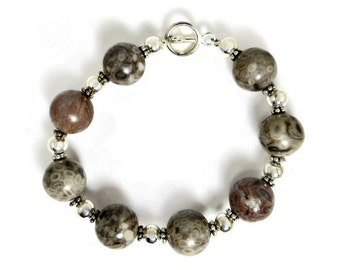 Agatized Fossil Shell Beads and Silver Beads Bracelet