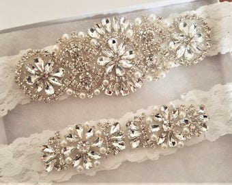 Wedding Bridal Garter - Crystal Pearl OFF WHITE Lace Garter Set