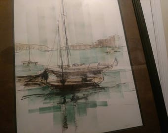 Sailboat watercolor beautiful framed painting