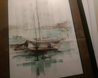 Sailboat watercolor beautiful framed painting