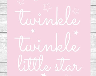 Twinkle Twinkle Little Star Nursery Decor Wall Art Digital Print ~ Girl Bedroom ~ Pink ~ Digital Instant Download Print