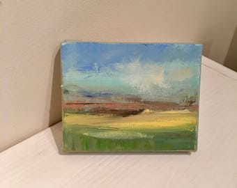 Miniature Oil Painting- Minimalist Landscape painting- Small Oil Painting- 4 x 5- Original Oil Painting