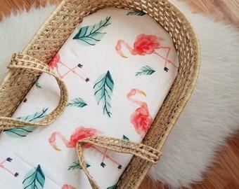 Flamingo Moses Basket Sheet - Tropical Moses Basket Sheet - Flamingo Nursery Decor - Flamingo Nursery - Modern Baby Bedding - Modern Nursery