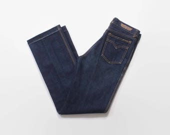 Vintage 70s High Waist Jeans / 1970s Dark Wash Blue Denim High Waisted Jeans XS