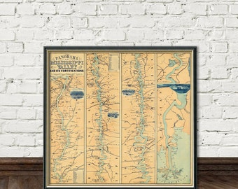 Mississippi Valley map - Mississippi Valley And Its Fortifications -  Old map fine print