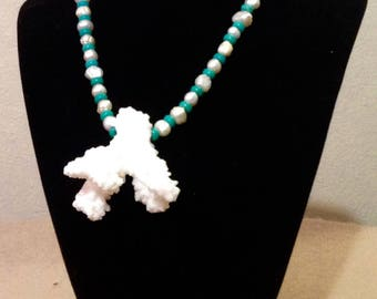 Rare White Coral and Pearl Necklace
