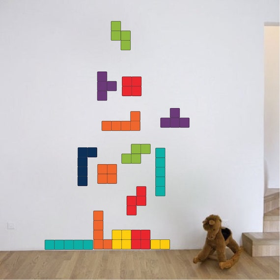 Tetris Wall Decal Design Kids Video Game Bedroom Wall Sticker Designs,  Tetris Wall Murals, Video Game Wall Decals, Video Game Mural, D59