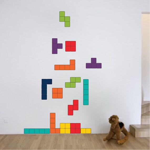 Tetris Wall Decal Design Kids Video Game Bedroom Wall Sticker Designs,  Tetris Wall Murals, Video Game Wall Decals, Video Game Mural, D59