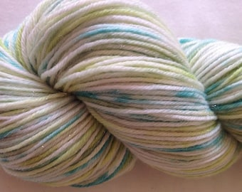 Hand dyed sparkle sock yarn 100g merino / nylon / stellina in Enchanted Glade colourway