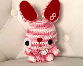 FREE US SHIPPING Amigurumi Bunny Stuffed Animal Gift Ooak Plush Plushie Soft Softie Cute Collectable