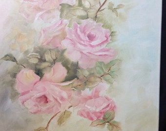 Shabby chic antique style pastel pink roses in oil on canvas 16 x 20