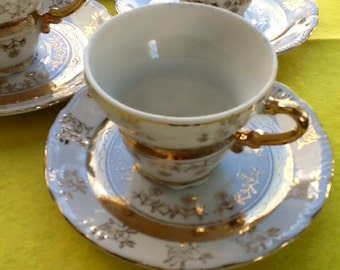 Sterling China Demitasse Cups & Saucers: Set of Five in White and Gold. Beautiful. Estimate age at 1950s. Excellent condition. Made in Japan