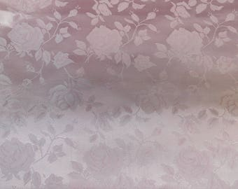 Floral Jacquard Satin White/Silver  by the Yard