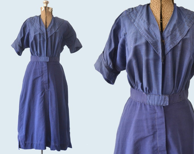 Edwardian Blue Wool Swimsuit Dress
