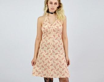 Vintage 70's Pattern Halterneck Dress