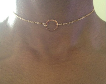 Gold Choker Necklace Gold Eternity Necklace Circle Necklace Gold Circle Necklace Gold Dainty Choker Hammered Gift For Her NOW ADJUSTABLE
