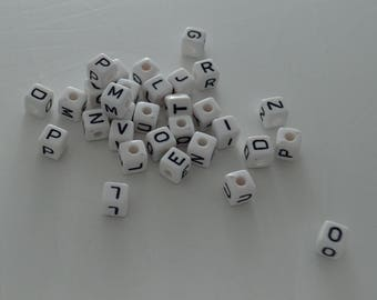10 white acrylic letter Alphabet 10mm Bracelet, jewelry, pacifier clip