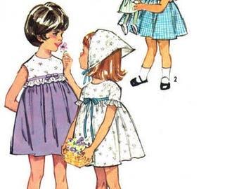 Simplicity 5860 - Girls Size 6 - Girls Gathered One Piece Dress & Scarf Pattern - Vintage Sewing Pattern