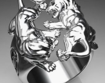 Silver Lion Ring 2 black diamonds