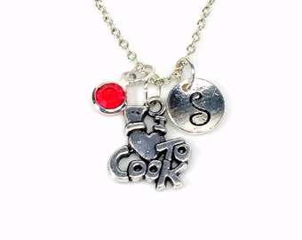 I love to Cook Necklace, Culinary Student Jewelry, Silver Cooking Charm Pendant, Gift for Chef Present, Initial Birthstone Mom Sister Aunt