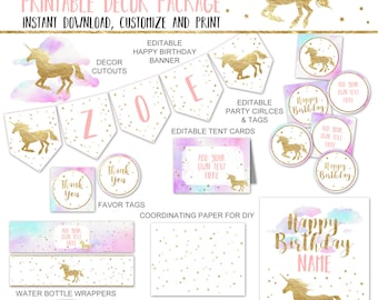 Unicorn Party Decor Printables Package, Pastel Pink and Gold Unicorn Birthday Party Decorations, Editable PDF INSTANT DOWNLOAD