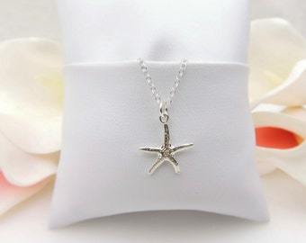 FREE US Ship Tiny Sterling Silver Starfish Necklace Minimalist Starfish Necklace Dainty Starfish Layering Necklace Bridesmaid Necklace