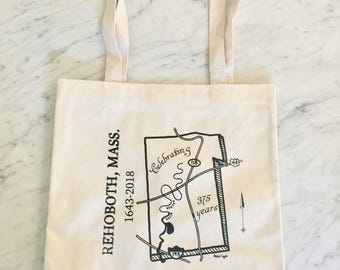 Rehoboth, MA Map - Commemorative Hand-Printed Tote Bag