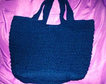 Criss Cross Tote, Reversible, Navy Blue, Crochet Bag