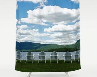 Adirondack Shower Curtain-Lake Bath Decor-Fine Woodland Bathroom Decor-Mountains Shower Curtain-Landscape-Nature Decor-Blue-Green