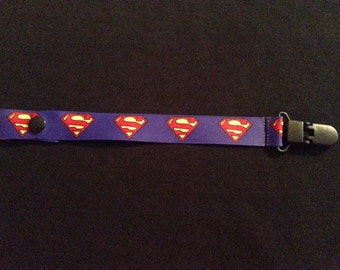 Superman Pacifier Holder with snap or string