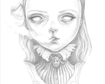 Ectoplasm, A creepy cute ghostly Victorian girl, an A6 postcard