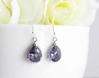 Amethyst Dangle Earrings, Mothers Day Gift, February Earrings, Purple Earrings, Birthday Gift, Wedding Earrings, Bridesmaid Earrings