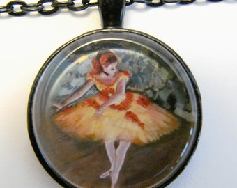 DEGAS BALLET DANCER in Yellow Necklace -- Degas Impressionist Art, Women in art, Gift for dancers, artists and art lovers, Wearable art