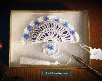 Victorian Fan Lavender Crochet Sachet