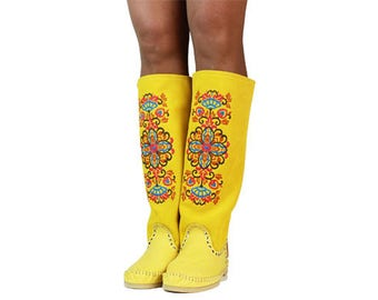 SUMMER BOTS Desire, yellow Moccasins, Moccasin boots, womens Moccasins, leather Moccasins, leather boots,, womens boots, custom work