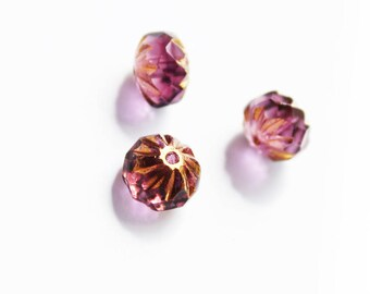antique Bohemian pearls, Amethyst vintage ormolu 3 donuts