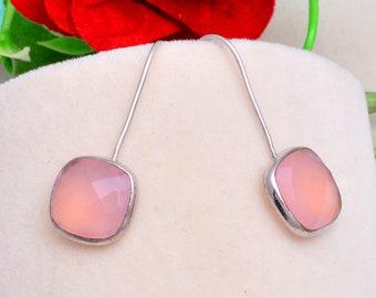 Rose Chalcedony Gemstone 925 Silver Long Dangle Earrings Jewelry