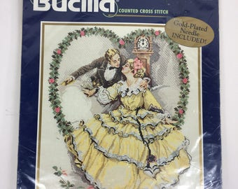 "Bucilla #42042 ""The Kiss"" Counted Cross Stitch Kit *New* Multi Lingual Instructions"