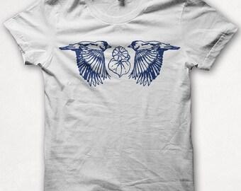Womens Screenprint Tshirt, Two Finches, Bird Shirt, Screenprint, Graphic Tee - White