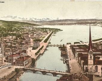 Vintage Unused Postcard, ca. 1910, Zurichsee, Switzerland, Monopol Edition of Zurich #58
