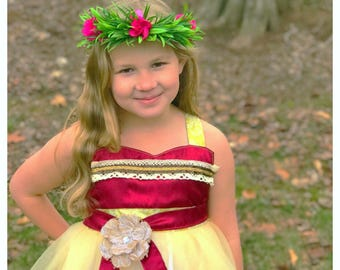 Moana Dress: tutu dress, Birthday Princess Party, Halloween costume, meet & greet, maroon beige red, hawaiian dress, polynesian princess
