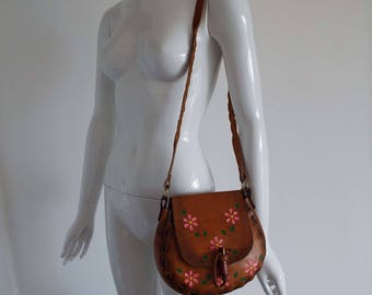 Vintage 1980's Tooled Leather Shoulder Bag Boho Leather Handbag Purse Cross Body Made in Mexico
