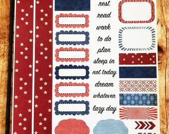 STARS AND STRIPES Personal Weekly Sticker Kit, Planner Stickers, Sticker Kit Sized for Erin Condren Life Planner