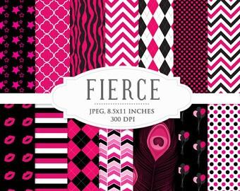 Scrapbook digital paper - bachelorette party, stylish, hot pink, black, chevron, quatrefoil, polka dots stripes for scrapbooking invitations