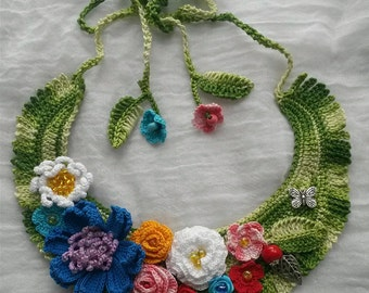 Crochet necklace 'Butterfly'   beads   necklace   for her   gift