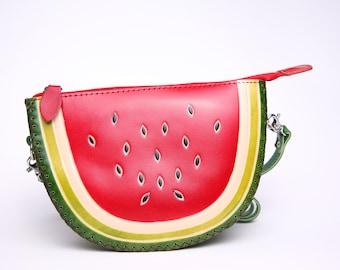 PurseWorld Women Handmade leather Red Watermelon Bag Purse/ Fruit shape