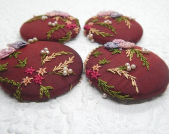 4 dark wine embroidered fabric buttons,sew on a sweater t-shirt, shoes, make a ring, create a pendant, 1.9 inches, size 75 buttons