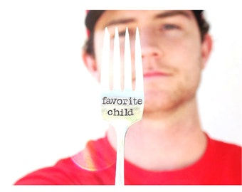 Stamped Fork Favorite Child Fork Humorous Hand Stamped Fork Personalized Vintage Silverplate Silverware Funny Message Utensil spoonerz